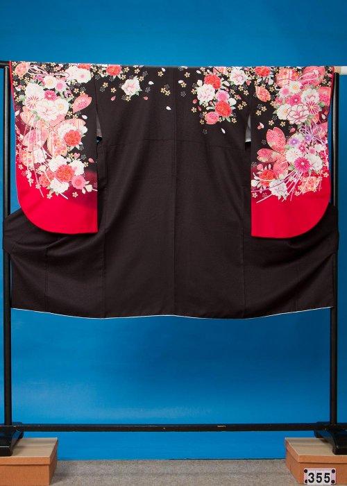 S355小振袖レンタル 裄70 黒 牡丹と桜 [shy紗衣]スザンヌ 【新品同様】