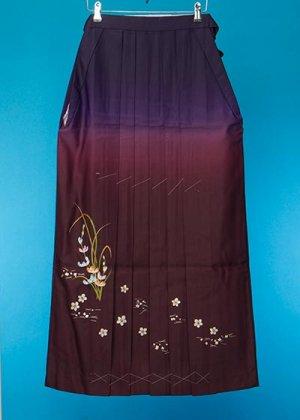 HA97-1トール女袴レンタル (身長163-168 普通巾)紫/ボルドーぼかし 刺繍