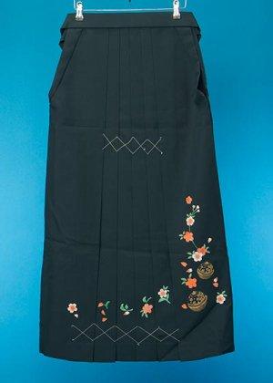 HA97-2トールややワイド女袴レンタル (身長163-168(ブーツの場合168-173)ヒップ70-110)グリーン系 濃緑 桜とまり 前幅広め
