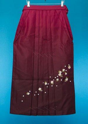 HA91-13女袴レンタル (身長155-160 普通巾) ワインエンジぼかし 桜刺繍