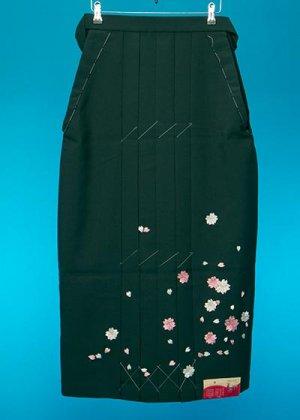 HA91-7女袴レンタル  (身長155-160 普通巾)グリーン  桜刺繍
