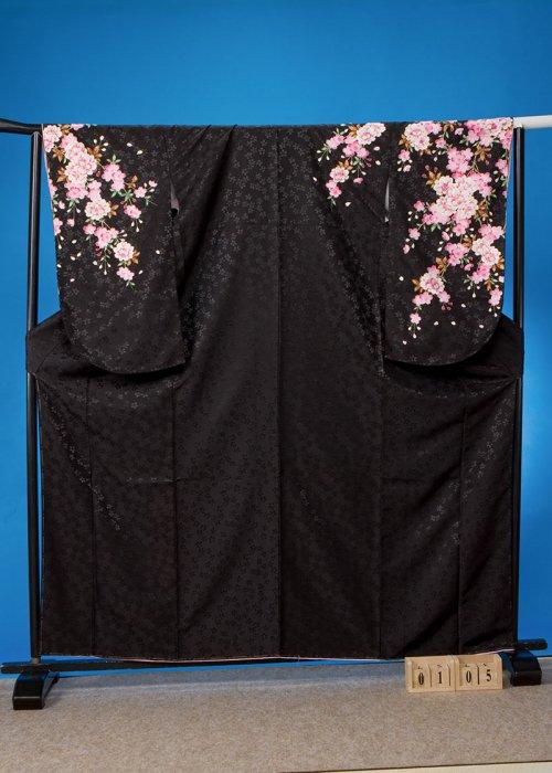 S105小振袖レンタル 裄70(ヒップ70-100) 黒 八重桜