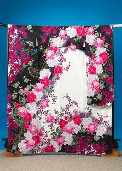F498トール振袖レンタル裄72(身長158-180ヒップ73-103)黒/白 薔薇と蝶 [ViVi] 【新品同様】