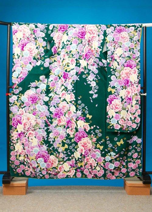 F515トール振袖レンタル 裄70(身長145-165ヒップ75-105) 正絹 濃い緑 牡丹とマーガレット【新品同様】