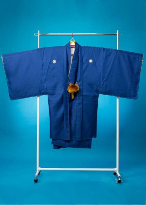 MP82-2トールワイド紋付レンタル(裄82身長185-195胴回り84-114)  青紺