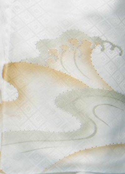 MP82-6トール紋付レンタル 裄82(身長180-198 胴回り77-107)  白 波にダイヤ