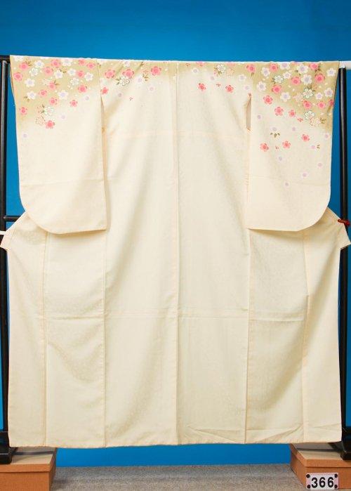 S366小振袖レンタル(裄70ヒップ71-101)クリームベージュ桜