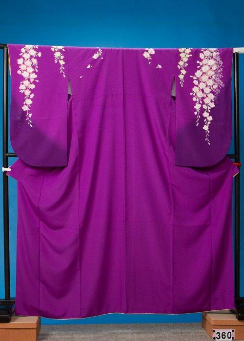 S360裄長小振袖レンタル 2L裄70 ヒップ72-102紫しだれ桜 S360