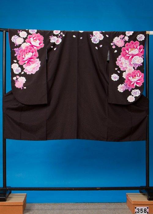 S358小振袖レンタル裄69 黒 牡丹と桜 [Moe Oshikiri] 押切もえ【新品同様】