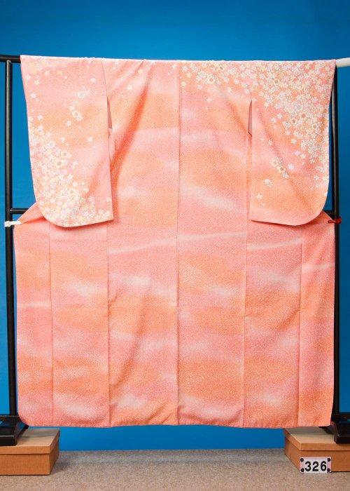 S326小振袖レンタル 裄70(ヒップ70-99)白オレンジピンク