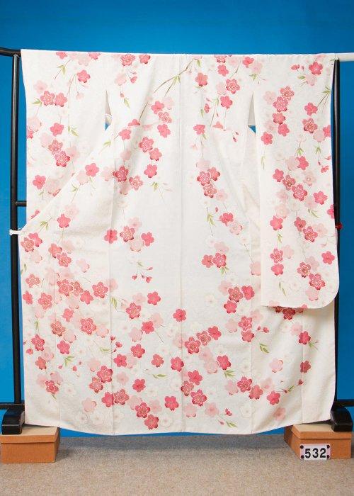 F532トール振袖レンタル 裄70(身長151-171ヒップ69-99) 白 桜【新品未使用】