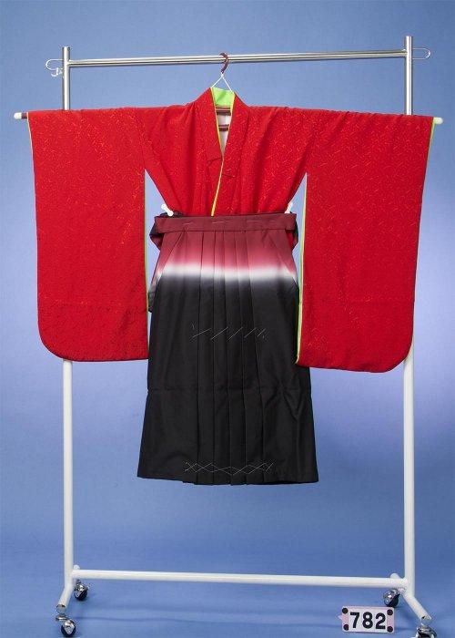 7-82七五三&卒園・入学着物(身長110-130cm) 濃い赤