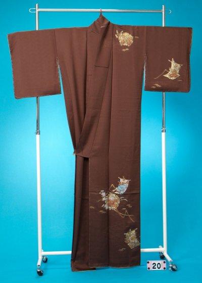 TS20トール訪問着レンタル 裄67 (身長141-171ヒップ71-96) 正絹 茶色系 チョコレートブラウン
