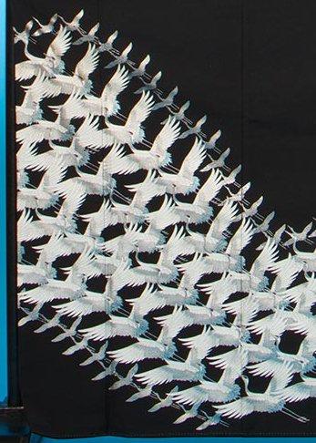 T60トール留袖レンタル 裄66(身長149-169ヒップ77-102)千羽鶴