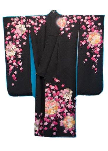 F508トールワイド振袖レンタル裄74(身長147-167ヒップ88-113) 正絹 黒 桜【新品同様】