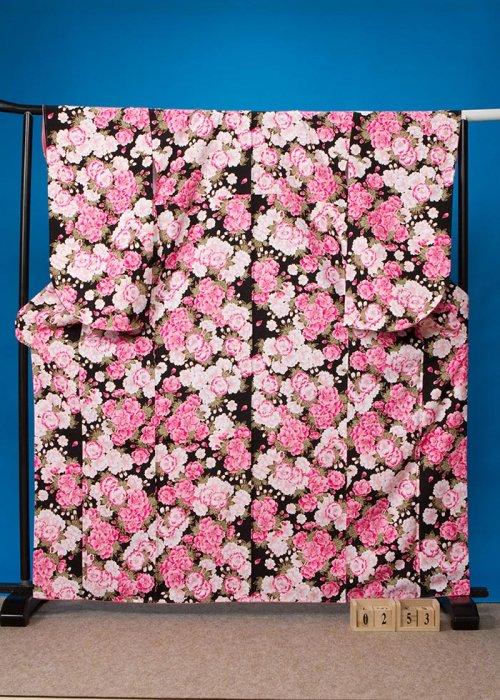 S253小振袖レンタル 裄70(ヒップ73-103)黒 八重桜 [ナカノヒロミチ]