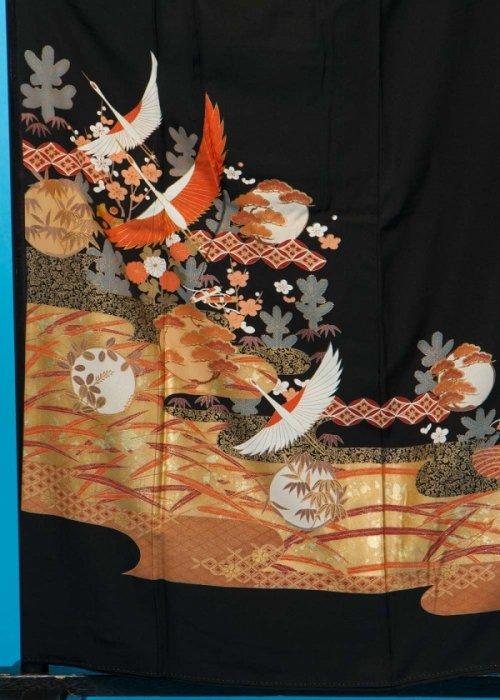 TK156ワイド留袖レンタル 裄69(身長142-162ヒップ85-110) 正絹 鶴