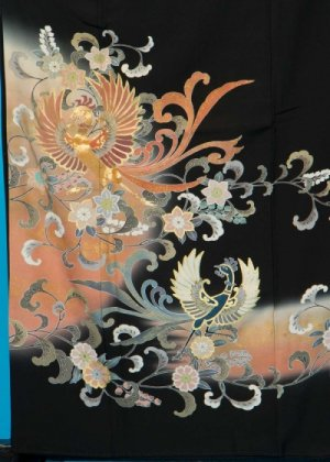TK151ワイド留袖レンタル 裄69(身長141-161ヒップ86-111) 正絹 鳳凰 金彩 作家物