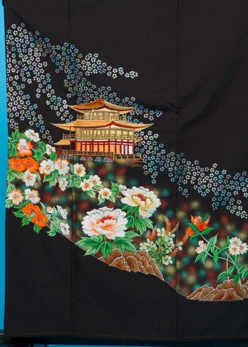 TP93留袖レンタル 裄66-68身長143-163ヒップ78-103) 金閣寺に桜 刺繍