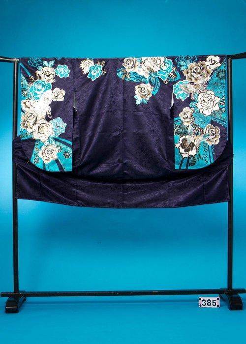 S385小振袖レンタル(裄69ヒップ70-101)濃い紫 ブルーの薔薇  Adam&Eve 【新品未使用】