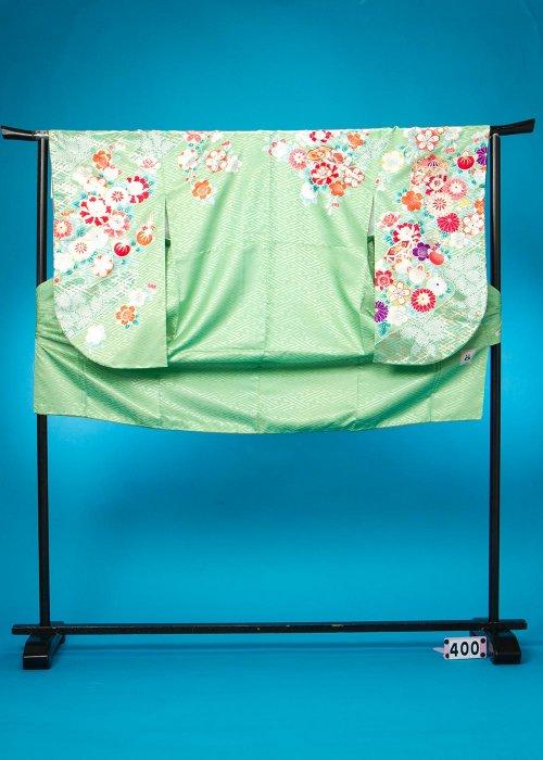 S400小振袖レンタル 裄69 グリーン系 落ち着いた黄緑  古典柄 [anan] 【新品未使用】