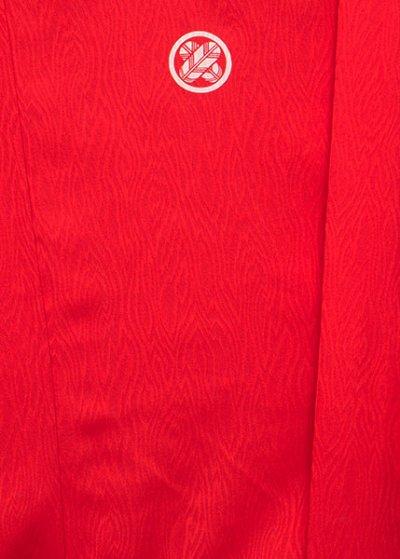MP76-7トール紋付レンタル 裄76(身長180 胴回り76-106) 日本製 朱赤 炎の地模様