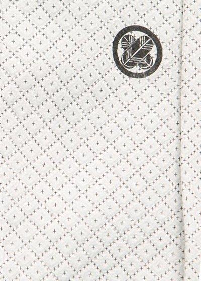 MP76-1紋付レンタル 裄76(身長180-185前後 胴回り77-107) 正絹 シルバーグレーに黒の刺子模様[大和紋付]