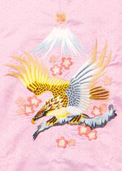 MP74-23紋付レンタル 裄74身長175 ピンク 鷹に富士山 刺繍【新品同様】