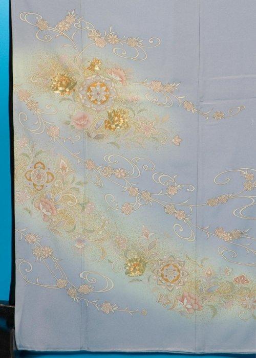 TI582トール色留袖レンタル 裄66-70(身長151-171ヒップ77-102)正絹 水色がかったグレー