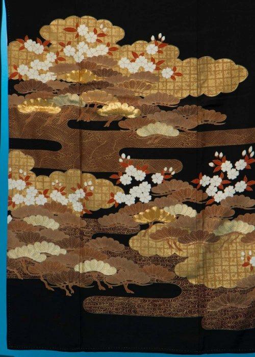 TK175留袖レンタル 裄67-69身長141-161ヒップ77-102)正絹 松に桜