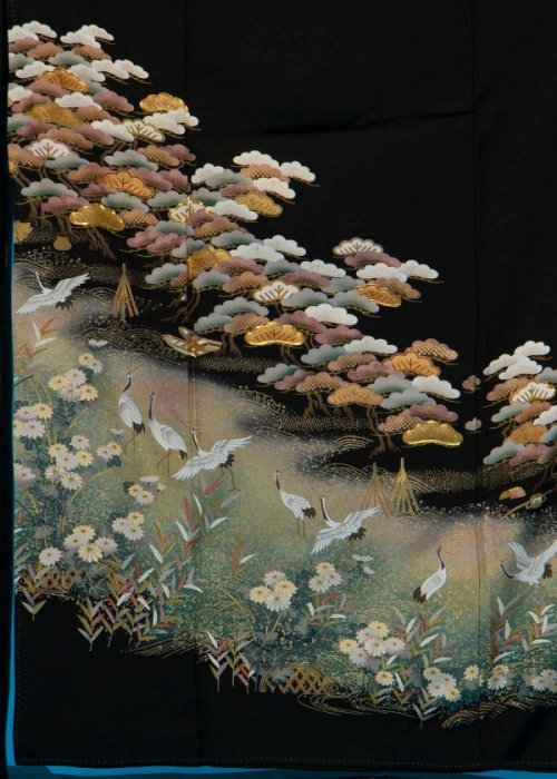 TK172留袖レンタル 裄67-69身長141-161ヒップ74-104)正絹 松に鶴 作家物