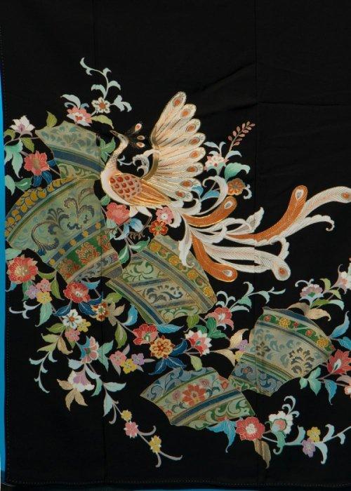 TK168留袖レンタル 裄67-69身長143-163ヒップ91-101)正絹 鳳凰 作家物