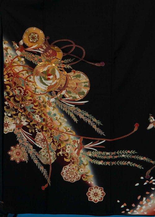 TK163トール留袖レンタル 裄67(身長147-167ヒップ76-101)正絹 鳳凰に堤