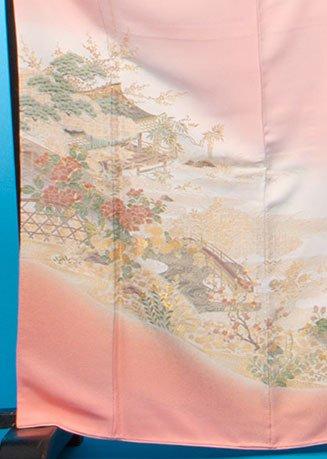 TI505色留袖レンタル 裄67(身長145-165ヒップ79-104)正絹 オレンジピンク 金織 牡丹と桜【新品同様】