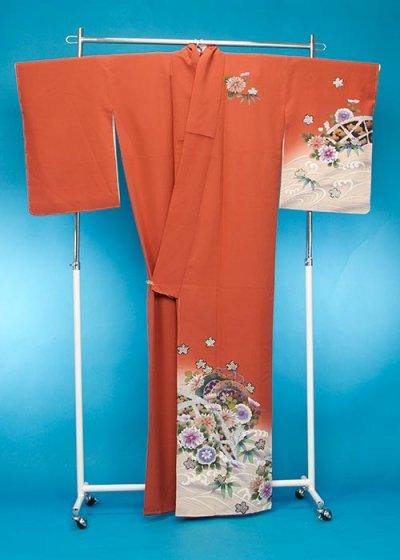 TS135トール訪問着レンタル 裄71(身長157-177ヒップ77-102)オレンジ系 明るいレンガ色 桜と菊【新品同様】