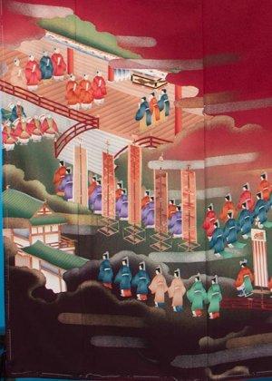 TI551トール色留袖レンタル (裄68-72身長151-171ヒップ75-105)正絹 赤系 エンジ 御所風景  [幾久重袖]
