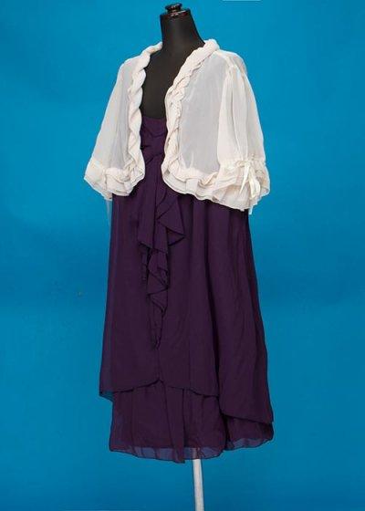 HD30-5 ゲストドレスレンタル 30号7Lウエスト102-108cm 紫 胸元にリボンキャミドレス+オフ白フリルボレロ