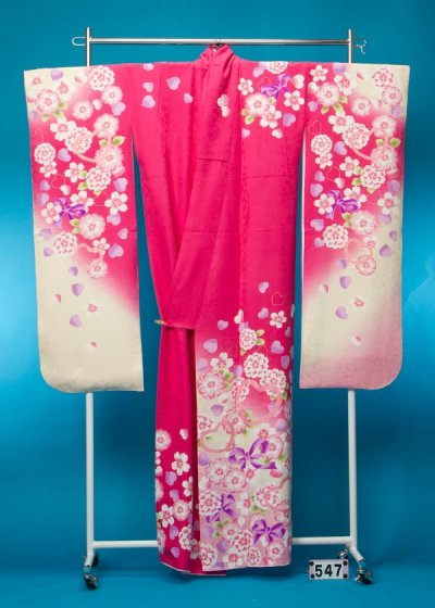 F547裄長トール振袖レンタル 裄70(身長151-171ヒップ71-101) 正絹 ピンク 桜 リボン ハート[PrivateLabal]プライベートレーベル【新品同様】