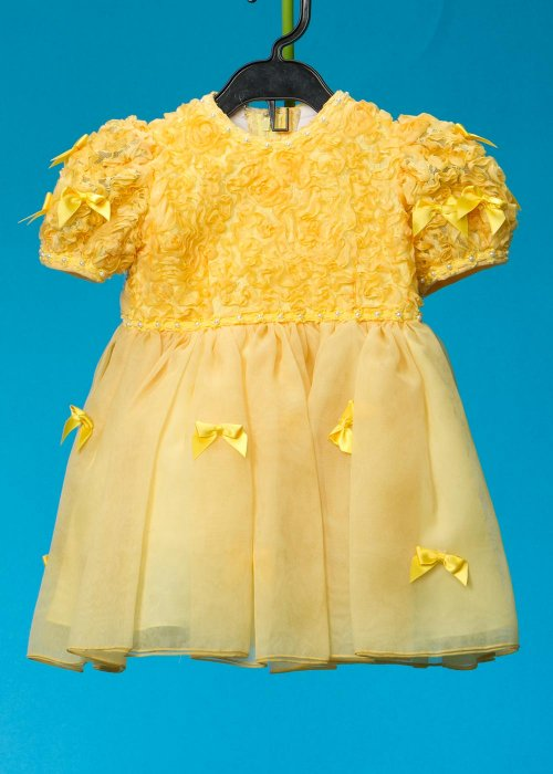 子供ドレス(身長90cm前後)ウエディングドレスメーカーが作った 日本製  黄色 リボン G90-3