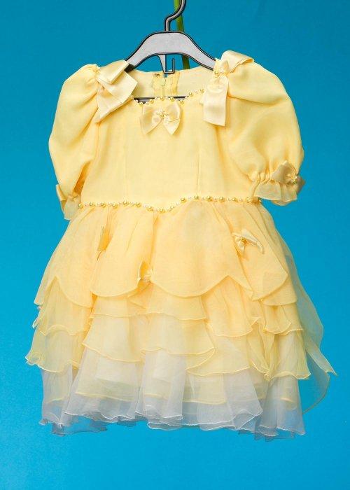 G100-11子供ドレスレンタル(身長100前後)日本製 黄色 リボン