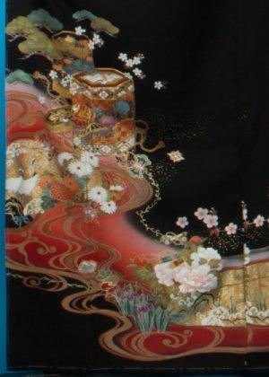 TK203背が低め対応、トールワイド留袖レンタル裄69-71身長148-168ヒップ90-123)正絹 貝桶に鶴 作家物[章華]