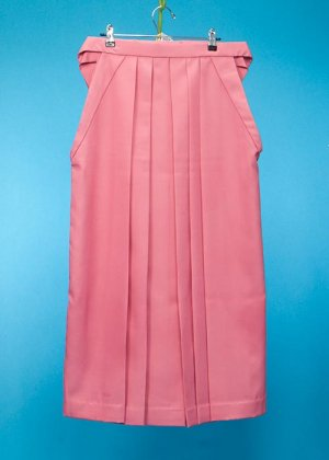 HA93-12女袴 レンタル  (身長158-163普通巾) 日本製  サーモンピンク無地