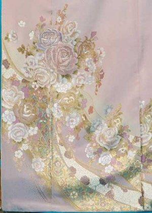 TI516超トールワイド色留袖レンタル裄76(身長159-179ヒップ100-127)正絹 ピンク薔薇 [桂由美] 大きいサイズ【新品同様】1月予約あり