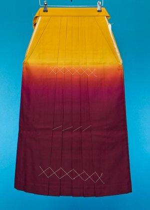 HA92-5女袴レンタル  (身長155-160 普通巾)  黄色系 山吹/ワインぼかし