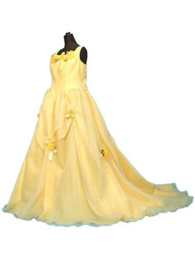D2552カラードレスレンタル19-25号(ウエスト90-104まで)黄色 オーガンジー ノースリーブ