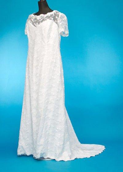 D3301ウエディングドレスレンタル 31-33号(ウエスト112-116)半袖 胸元シースルー レース