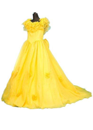 D1953カラードレスレンタル13-19号(ウエスト74-88)黄色 オーガンジー