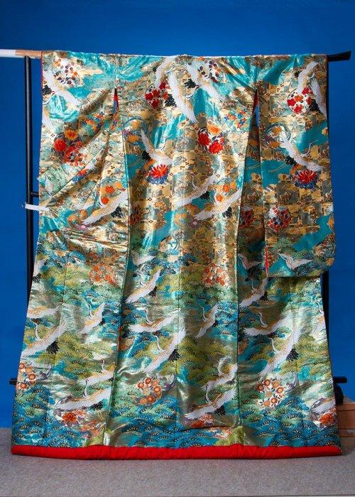 U662トール打掛レンタル裄69(身長159-179ヒップ91-121)青緑 エメラルド 松に鶴