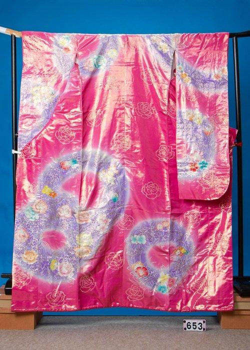 U653打掛レンタル裄69(身長143-163ヒップ79-109)チェリーピンク 薔薇  オーダーレンタル