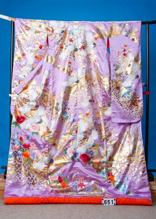 U651超トール打掛レンタル裄70(身長161-181ヒップ85-115)薄紫 ラベンダー 薔薇  鶴 金彩